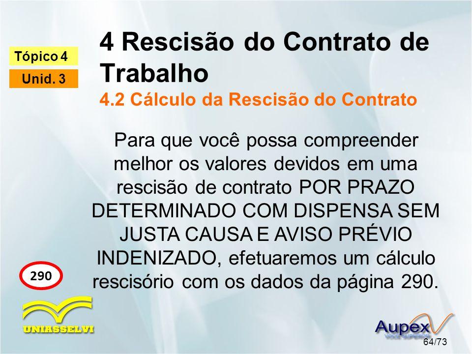 4 Rescisão do Contrato de Trabalho 4.2 Cálculo da Rescisão do Contrato