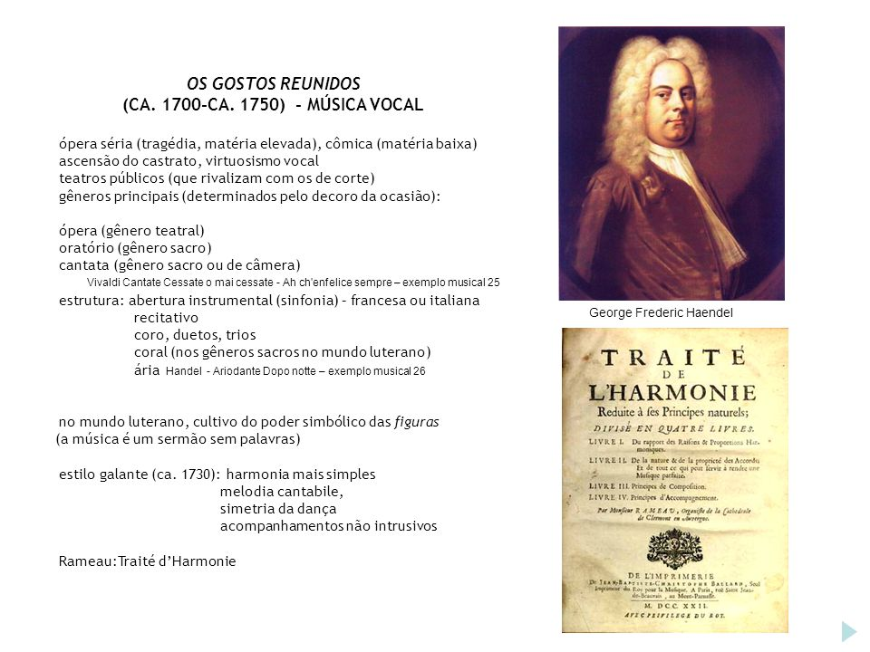 OS GOSTOS REUNIDOS (CA. 1700-CA. 1750) - MÚSICA VOCAL