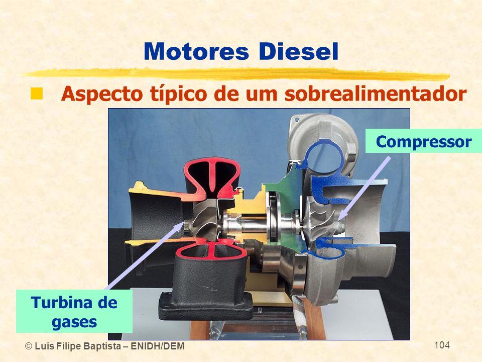Motores Diesel Aspecto típico de um sobrealimentador Compressor