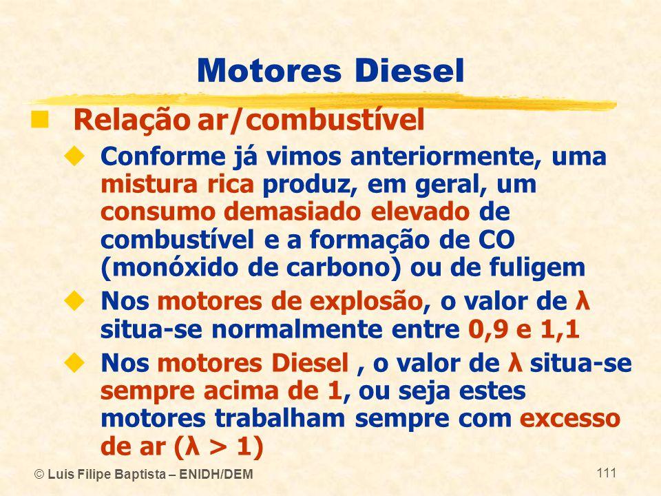 Motores Diesel Relação ar/combustível