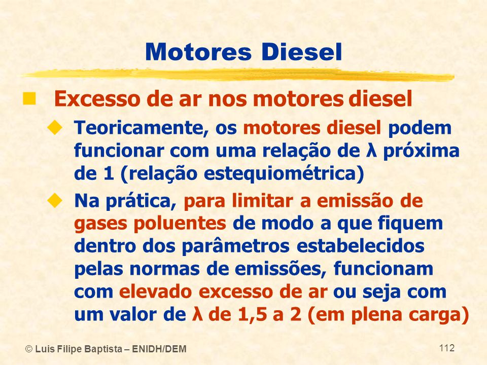 Motores Diesel Excesso de ar nos motores diesel