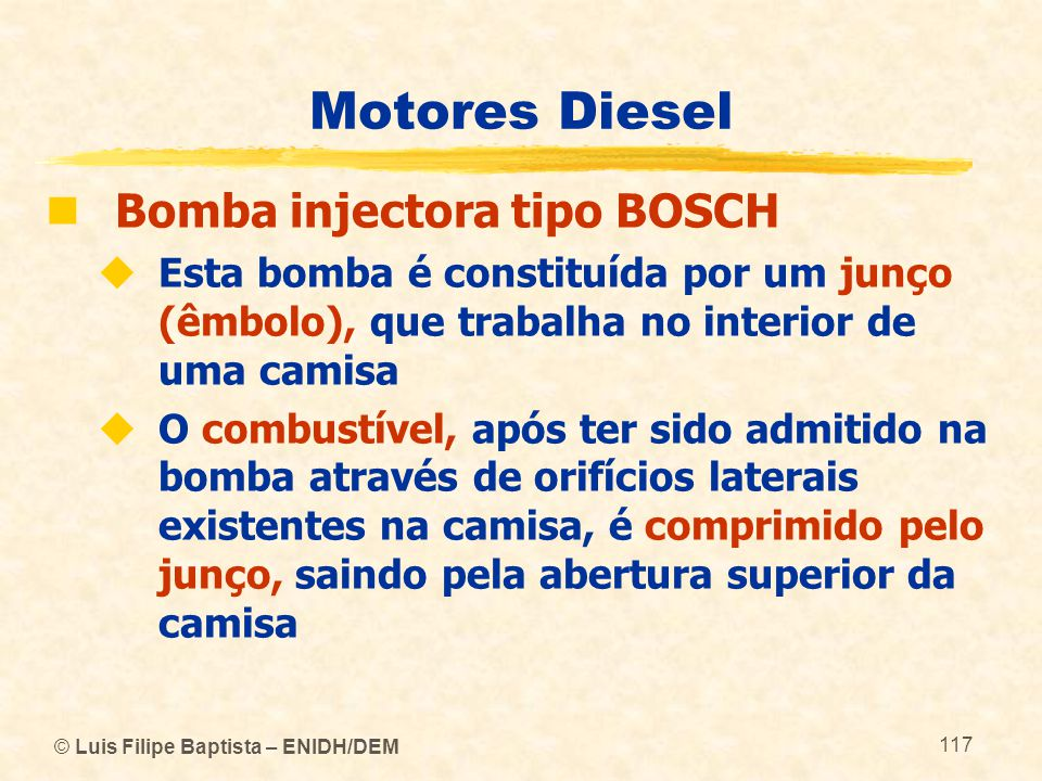 Motores Diesel Bomba injectora tipo BOSCH
