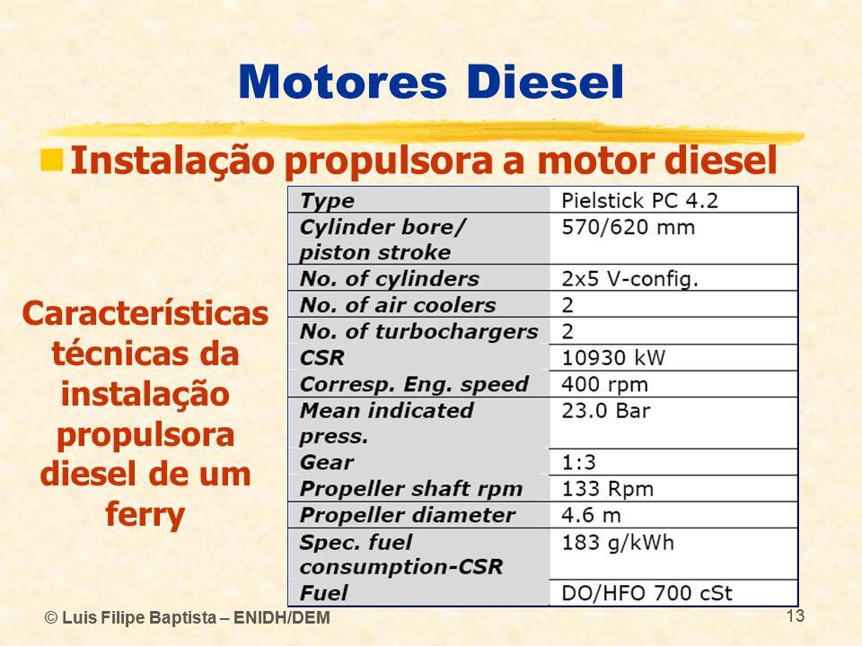 Características técnicas da instalação propulsora diesel de um ferry