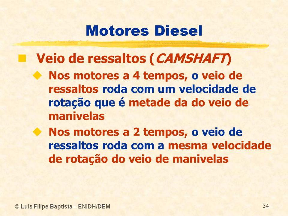 Motores Diesel Veio de ressaltos (CAMSHAFT)