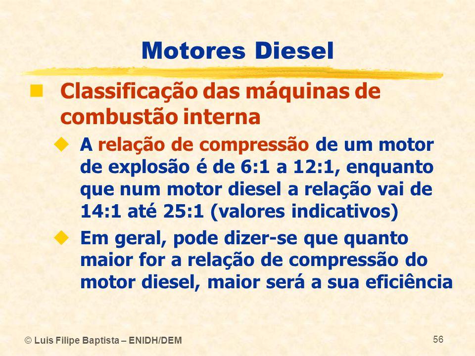 Motores Diesel Classificação das máquinas de combustão interna