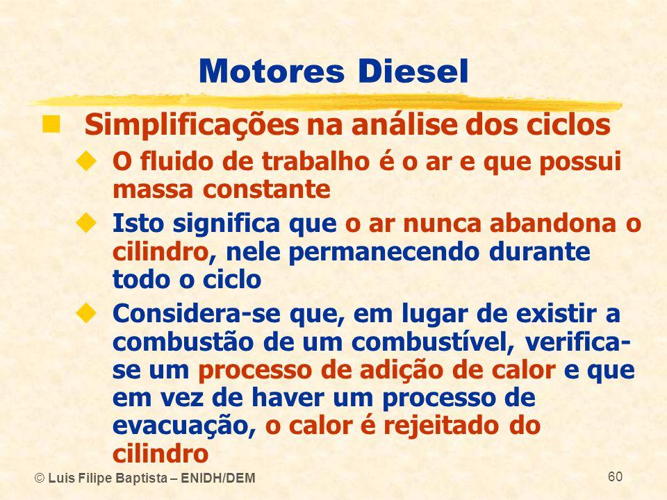 Motores Diesel Simplificações na análise dos ciclos