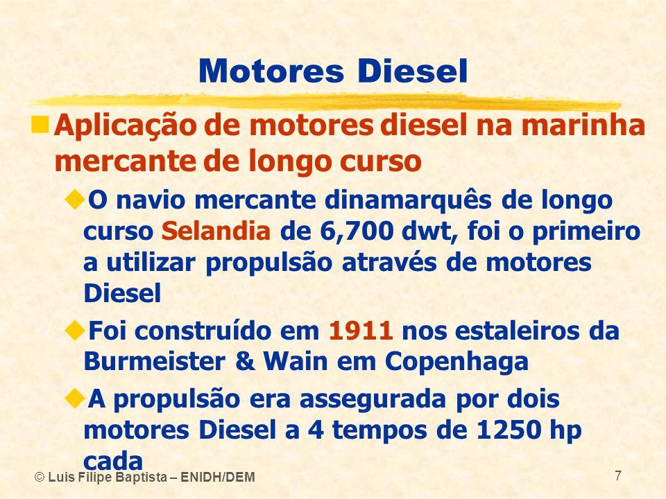Motores Diesel Aplicação de motores diesel na marinha mercante de longo curso.