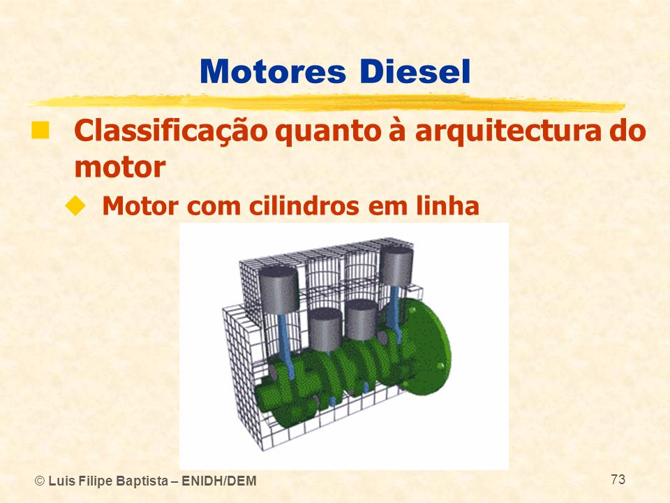 Motores Diesel Classificação quanto à arquitectura do motor