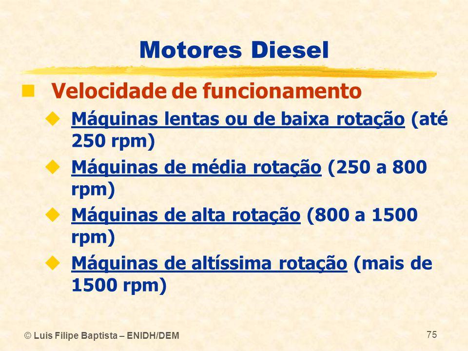 Motores Diesel Velocidade de funcionamento
