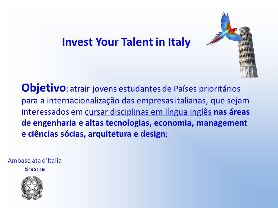 Invest Your Talent in Italy
