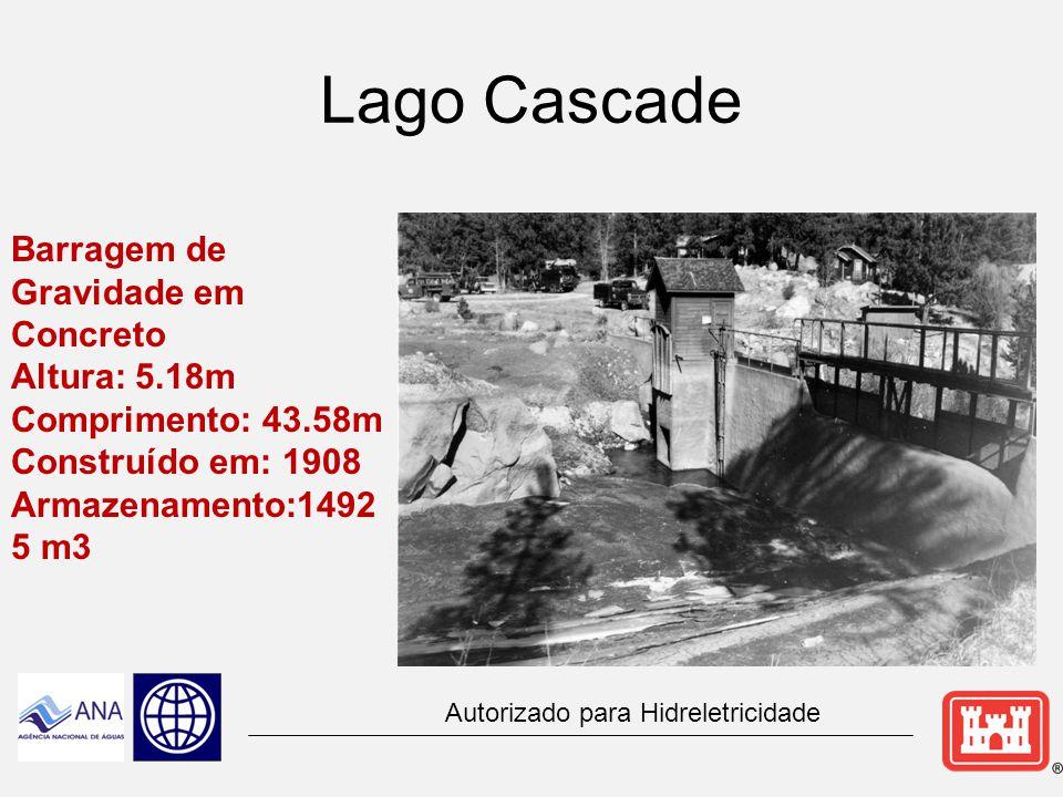 Lago Cascade Barragem de Gravidade em Concreto Altura: 5.18m