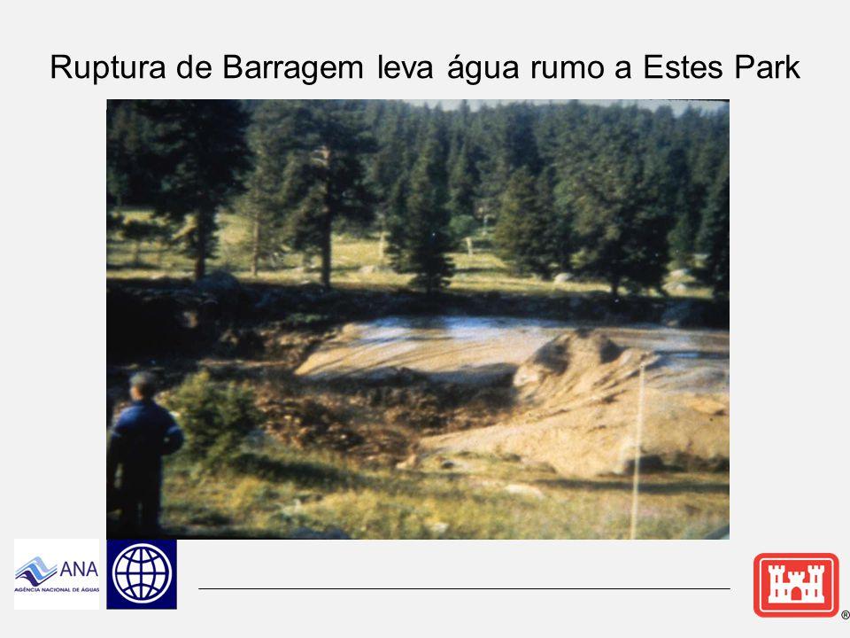 Ruptura de Barragem leva água rumo a Estes Park