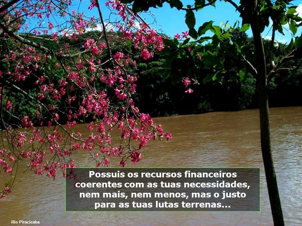 Possuis os recursos financeiros coerentes com as tuas necessidades, nem mais, nem menos, mas o justo para as tuas lutas terrenas...