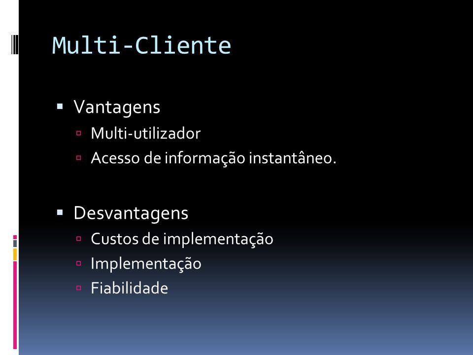 Multi-Cliente Vantagens Desvantagens Multi-utilizador