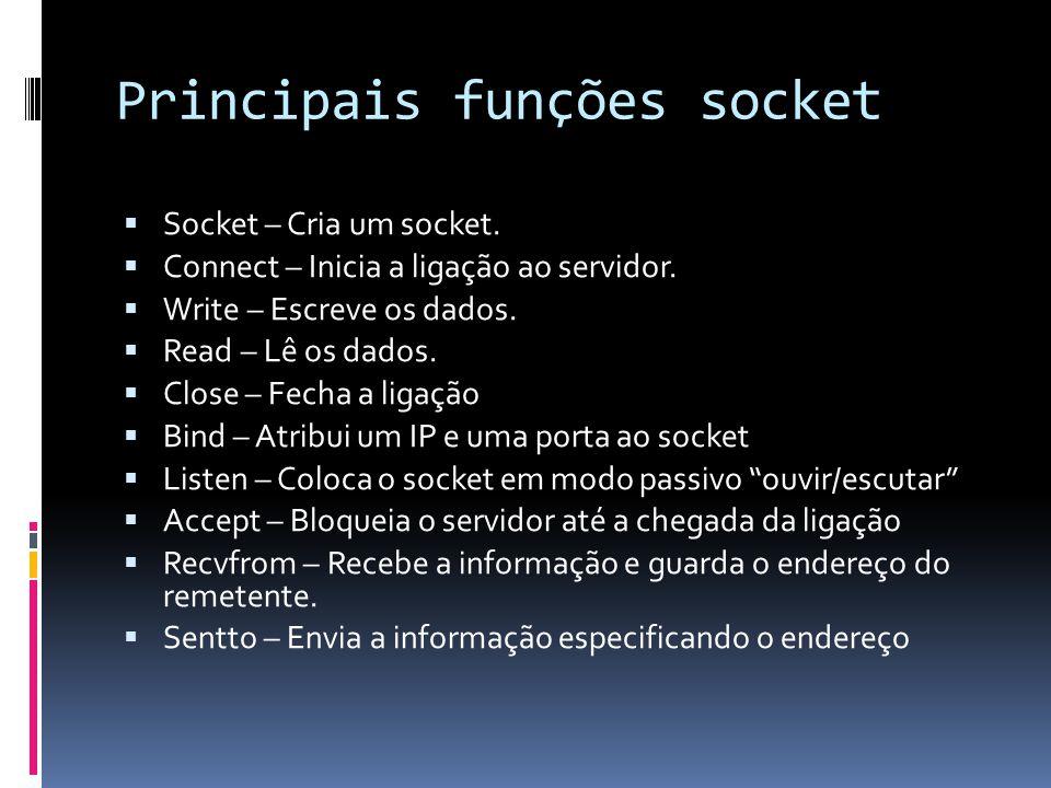 Principais funções socket