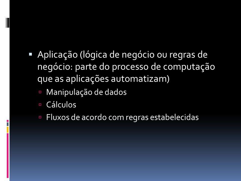 Aplicação (lógica de negócio ou regras de negócio: parte do processo de computação que as aplicações automatizam)