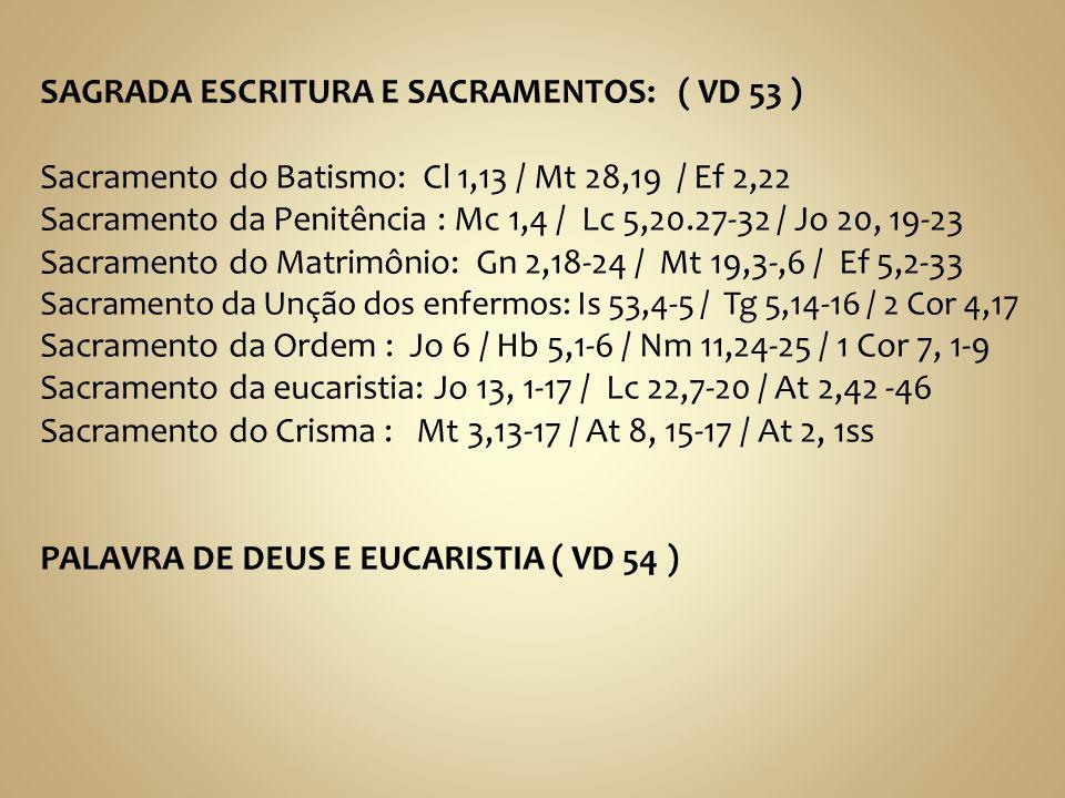 SAGRADA ESCRITURA E SACRAMENTOS: ( VD 53 )