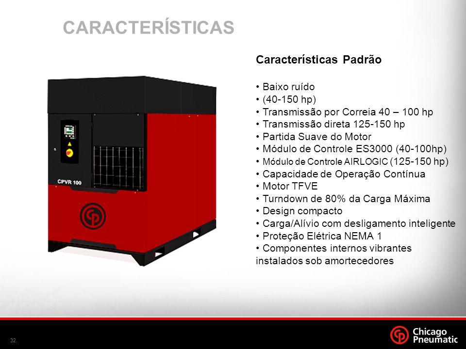 CARACTERÍSTICAS Características Padrão Baixo ruído (40-150 hp)