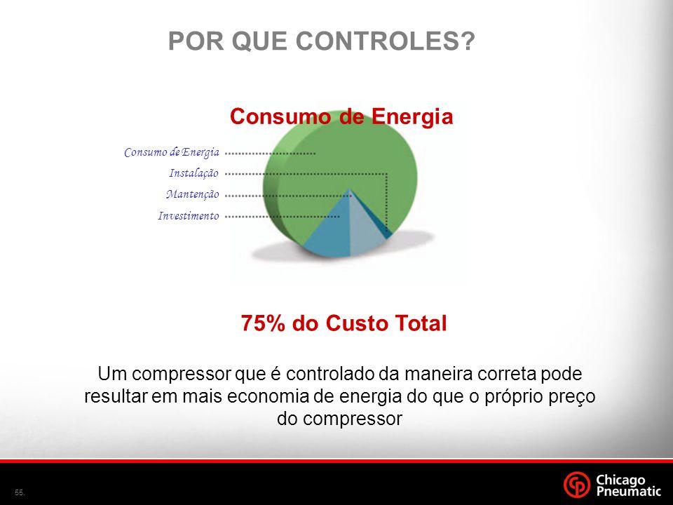 POR QUE CONTROLES Consumo de Energia 75% do Custo Total