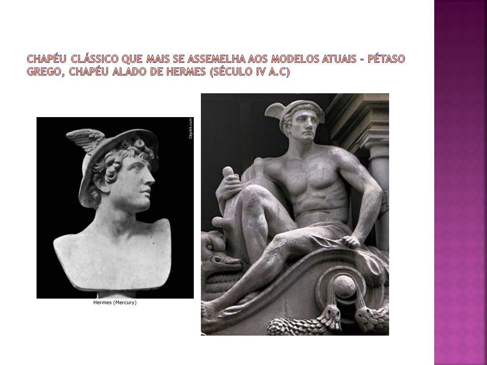 Chapéu clássico que mais se assemelha aos modelos atuais - Pétaso grego, chapéu alado de hermes (século IV a.C)