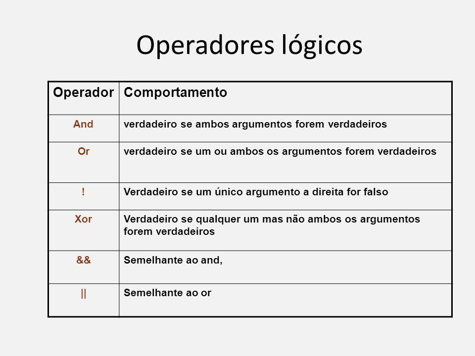 Operadores lógicos Operador Comportamento And