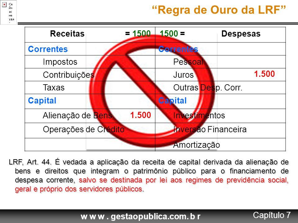 Regra de Ouro da LRF Receitas = = Despesas Correntes Impostos