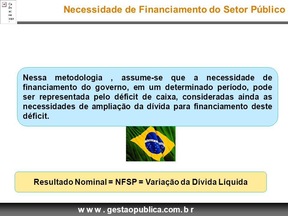 Resultado Nominal = NFSP = Variação da Dívida Líquida