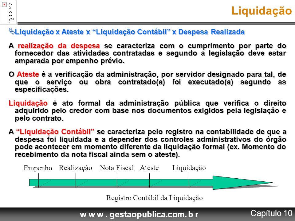 Registro Contábil da Liquidação