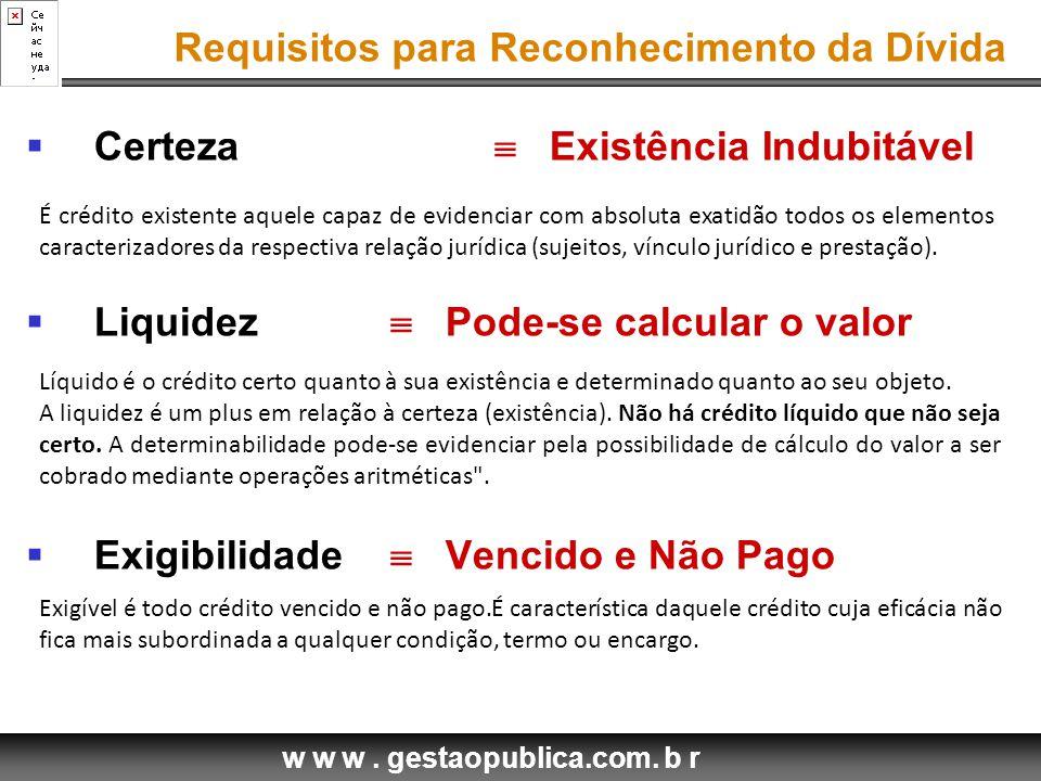 Requisitos para Reconhecimento da Dívida