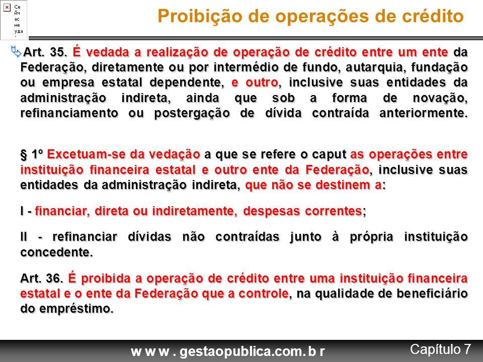 Proibição de operações de crédito