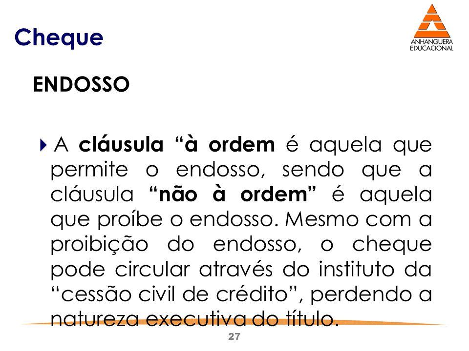 Cheque ENDOSSO.
