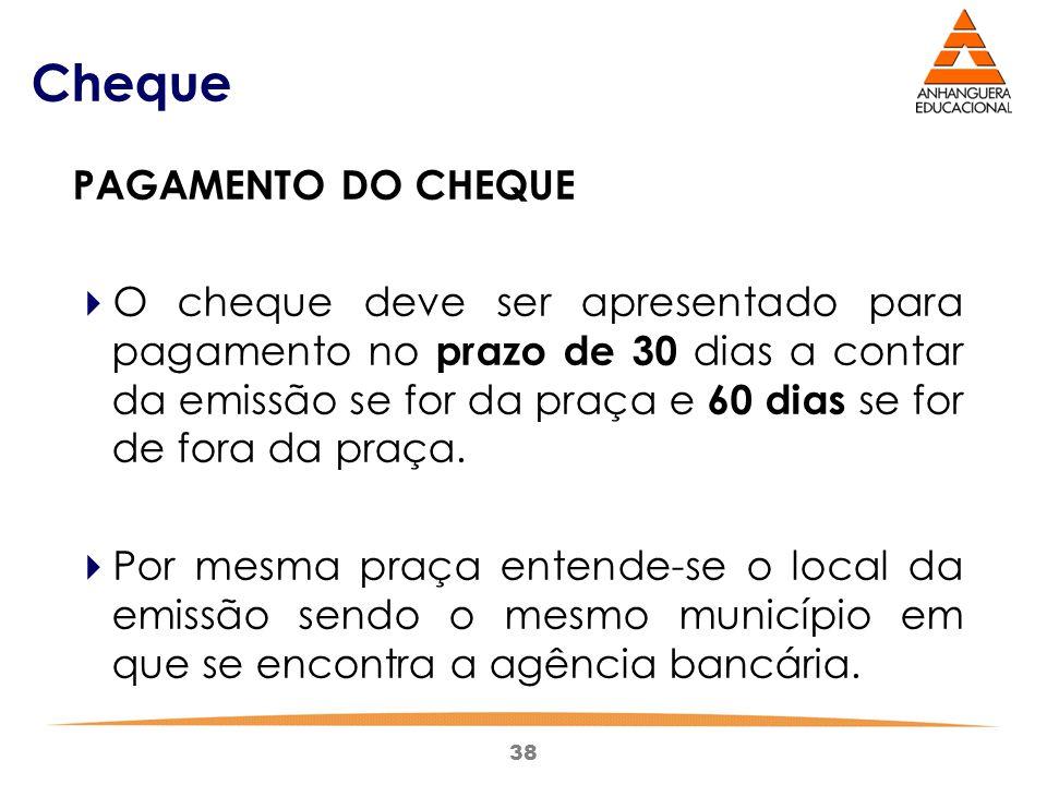 Cheque PAGAMENTO DO CHEQUE