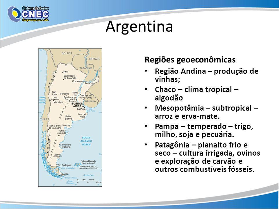 Argentina Regiões geoeconômicas Região Andina – produção de vinhas;