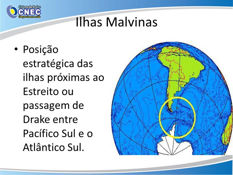 Ilhas Malvinas Posição estratégica das ilhas próximas ao Estreito ou passagem de Drake entre Pacífico Sul e o Atlântico Sul.