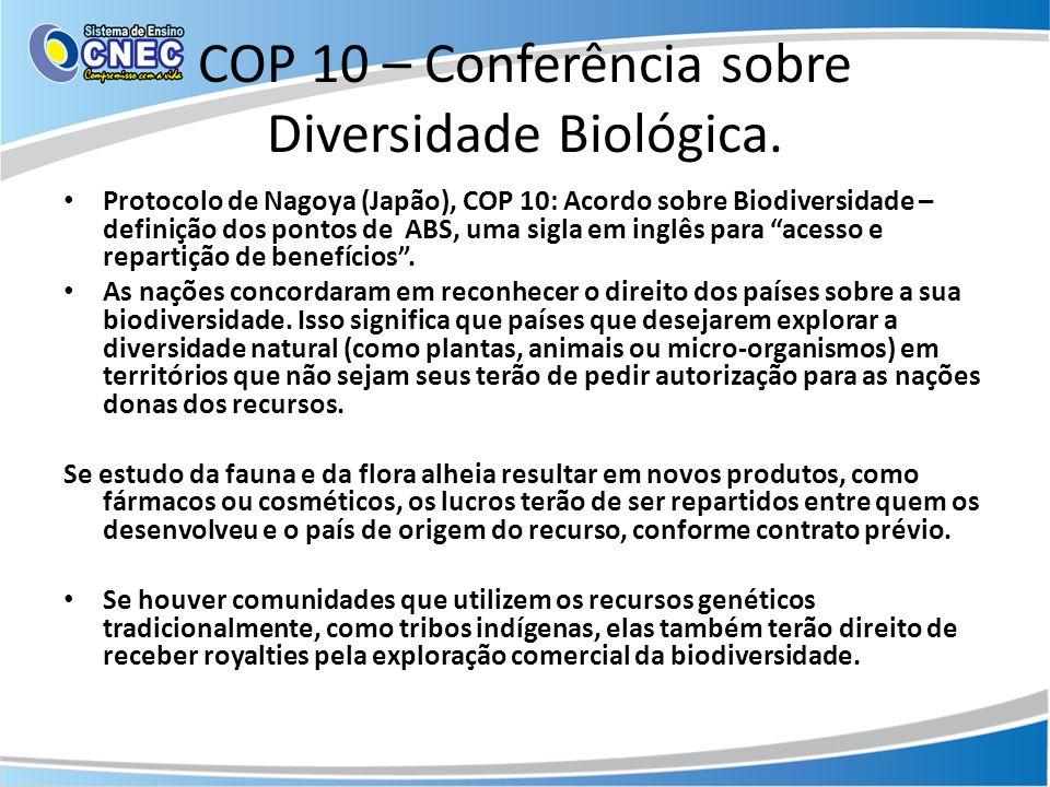 COP 10 – Conferência sobre Diversidade Biológica.