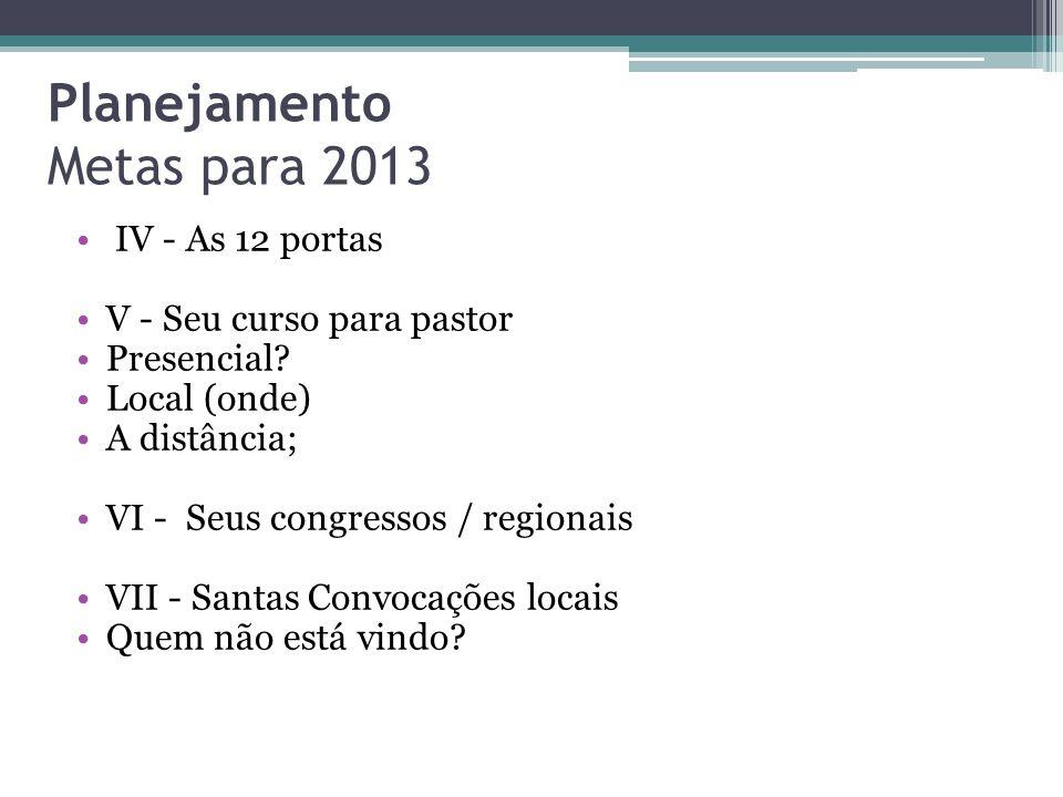 Planejamento Metas para 2013