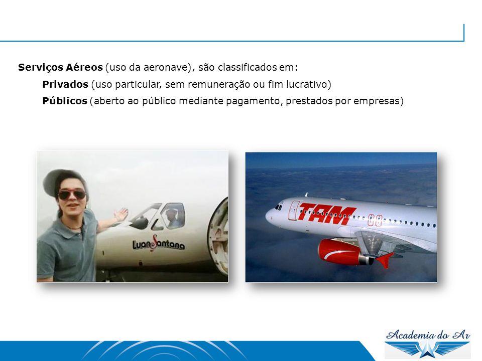 Serviços Aéreos (uso da aeronave), são classificados em: