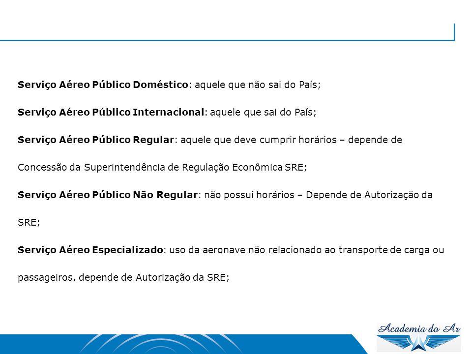 Serviço Aéreo Público Doméstico: aquele que não sai do País;