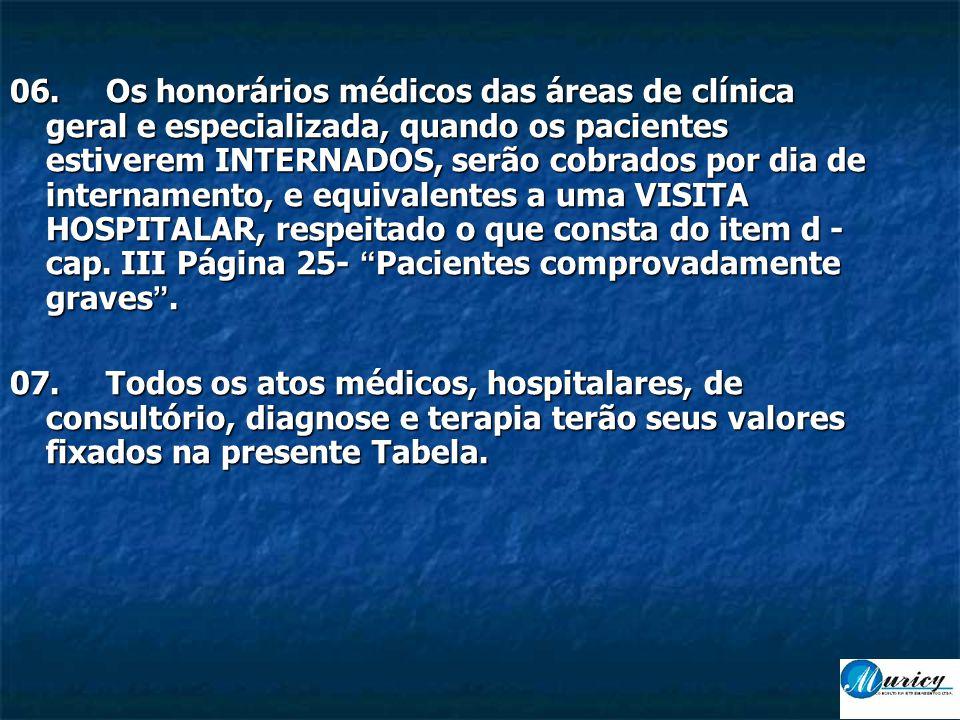 06. Os honorários médicos das áreas de clínica geral e especializada, quando os pacientes estiverem INTERNADOS, serão cobrados por dia de internamento, e equivalentes a uma VISITA HOSPITALAR, respeitado o que consta do item d - cap. III Página 25- Pacientes comprovadamente graves .