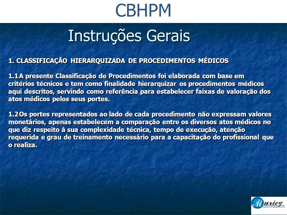 CBHPM Instruções Gerais