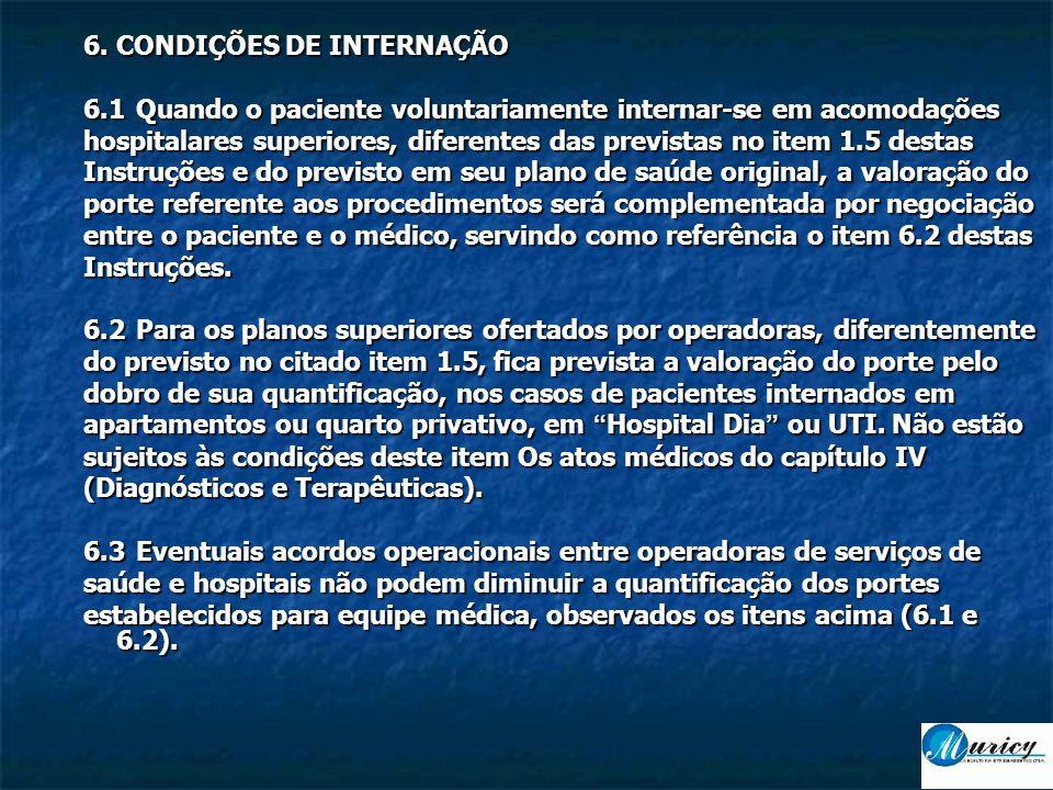 6. CONDIÇÕES DE INTERNAÇÃO