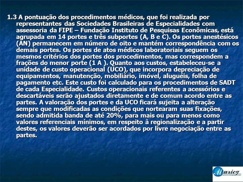 1.3 A pontuação dos procedimentos médicos, que foi realizada por representantes das Sociedades Brasileiras de Especialidades com assessoria da FIPE – Fundação Instituto de Pesquisas Econômicas, está agrupada em 14 portes e três subportes (A, B e C).
