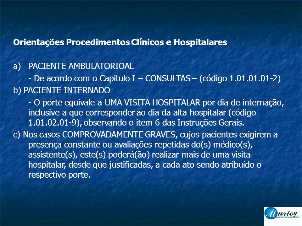 Orientações Procedimentos Clínicos e Hospitalares