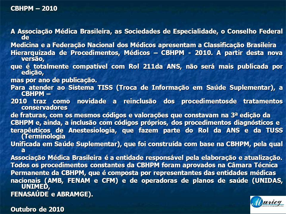 CBHPM – 2010 A Associação Médica Brasileira, as Sociedades de Especialidade, o Conselho Federal de.