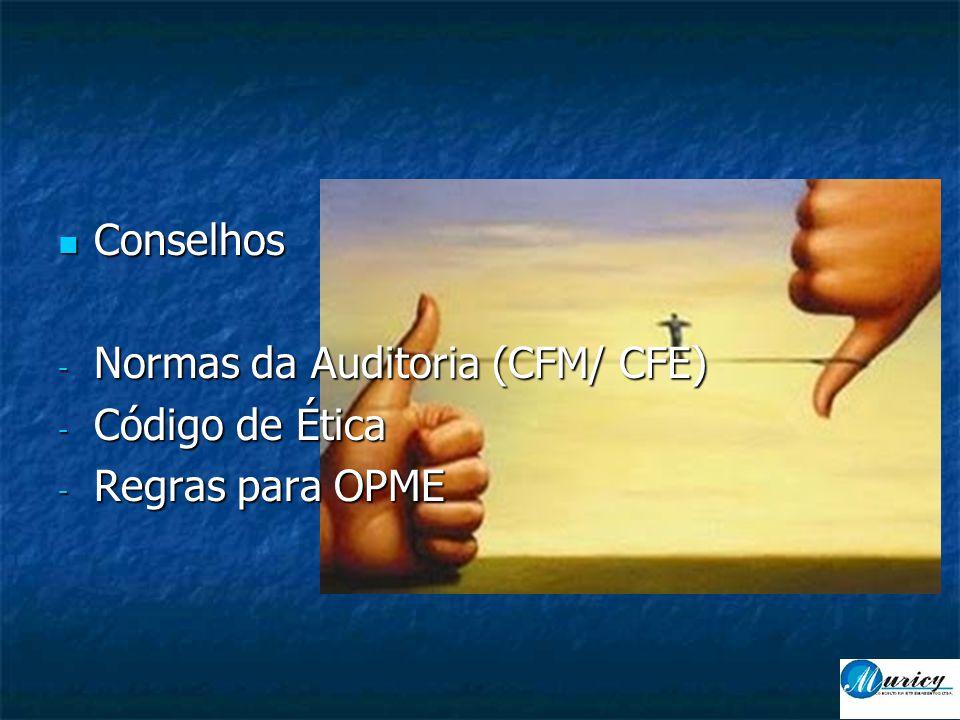 Conselhos Normas da Auditoria (CFM/ CFE) Código de Ética Regras para OPME