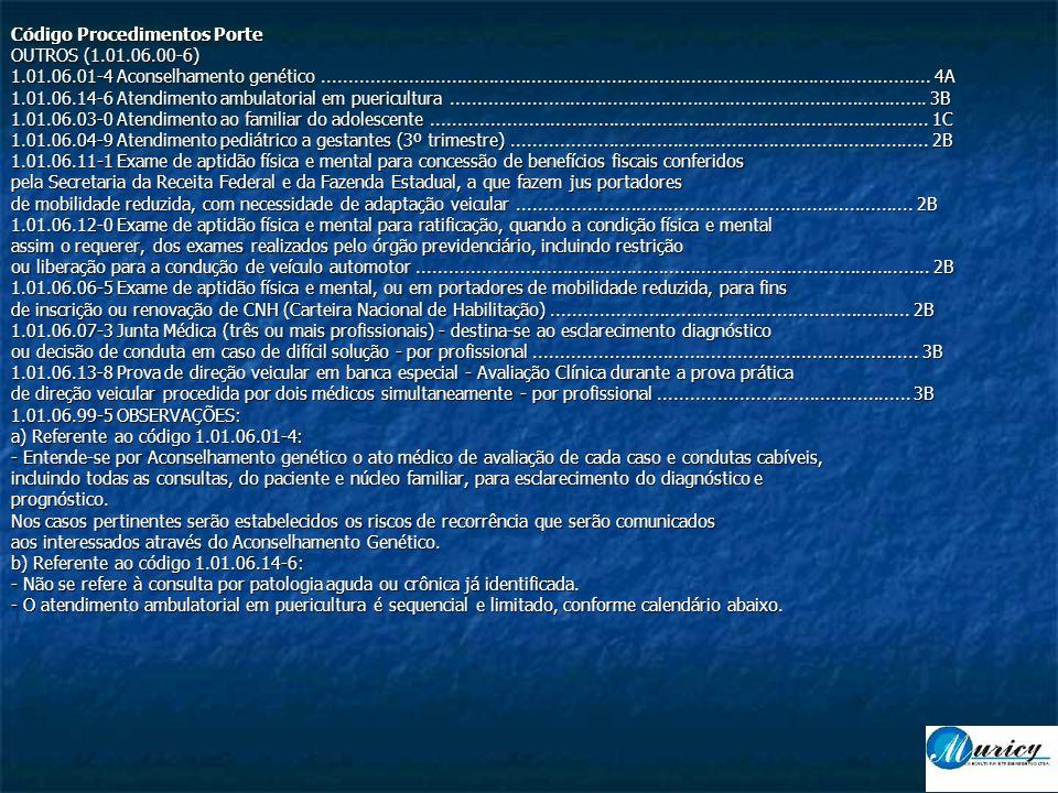 Código Procedimentos Porte