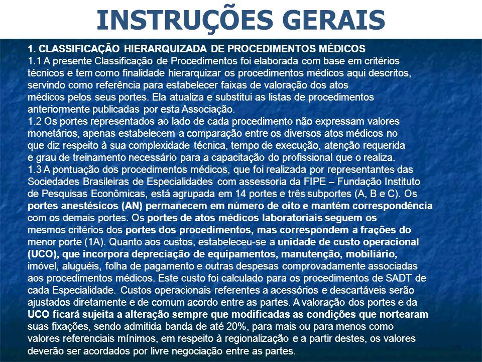 INSTRUÇÕES GERAIS 1. CLASSIFICAÇÃO HIERARQUIZADA DE PROCEDIMENTOS MÉDICOS.
