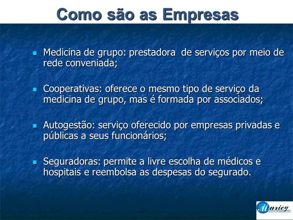 Como são as Empresas Medicina de grupo: prestadora de serviços por meio de rede conveniada;