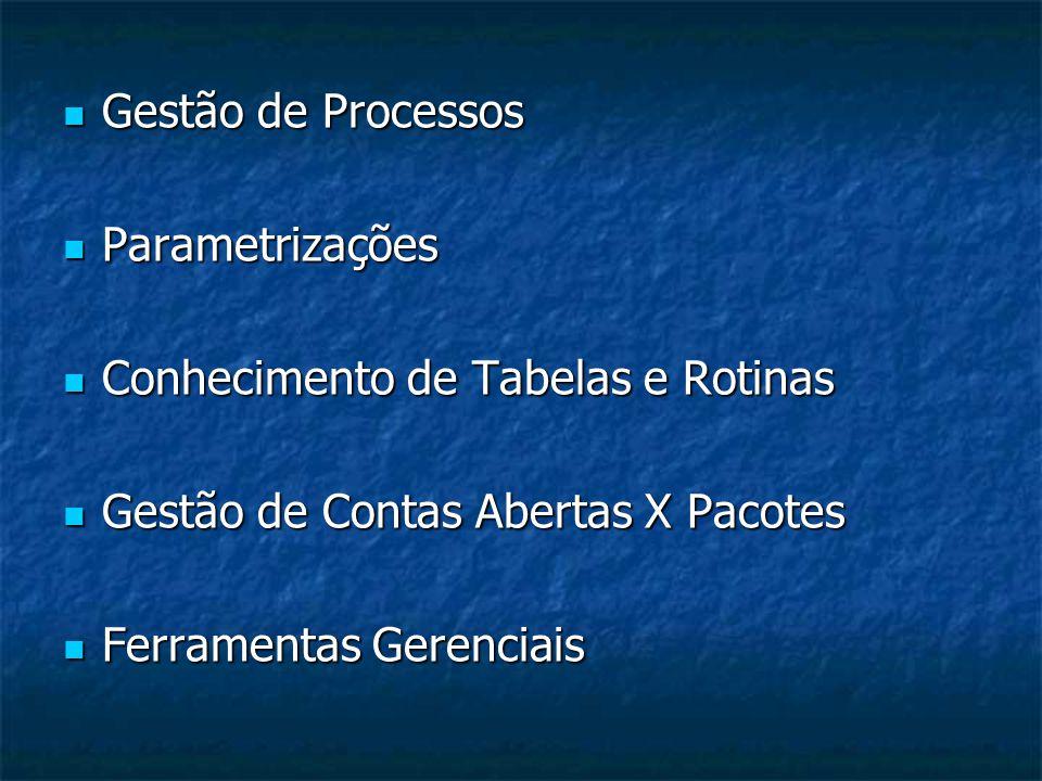 Gestão de Processos Parametrizações. Conhecimento de Tabelas e Rotinas. Gestão de Contas Abertas X Pacotes.