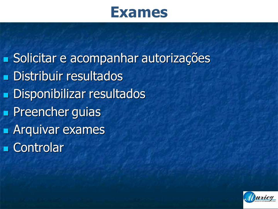 Exames Solicitar e acompanhar autorizações Distribuir resultados
